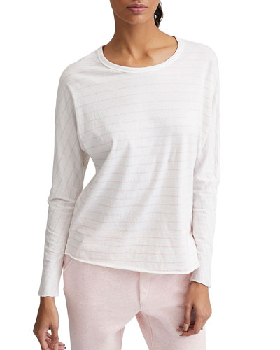 Continuous Striped Long-Sleeve Cotton Tee