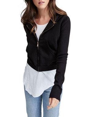 d1776f63f14 Frank   Eileen Tee Lab Zip-Front Triple Fleece Crop Hoodie Jacket