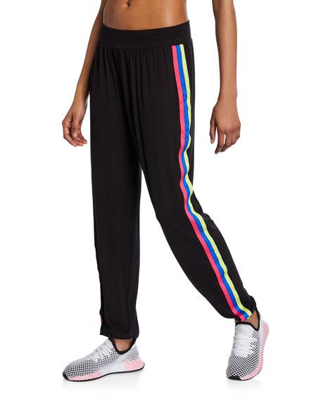 Terez Blackbright Ribbon Side-Stripe Jogger Pants