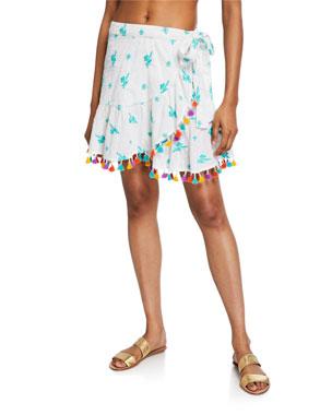 161a3db490 Tessora Lena Embroidered Tassel Wrap Skirt