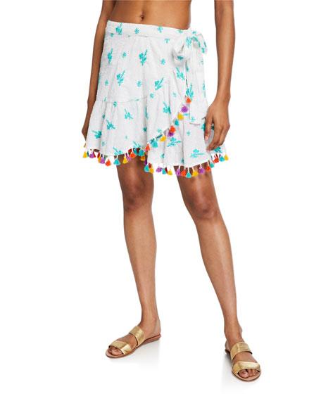 Tessora Lena Embroidered Tassel Wrap Skirt