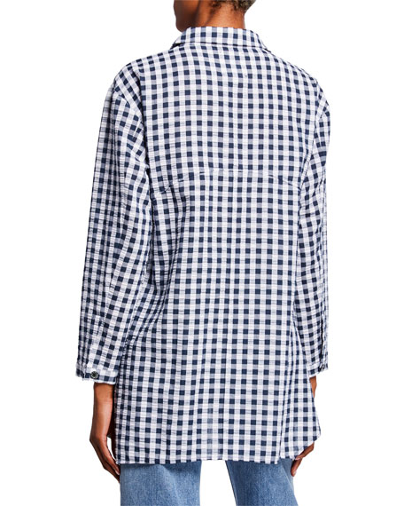 DUBGEE by Whoopi Plus Size Gingham Seersucker Button-Front Easy Shirt