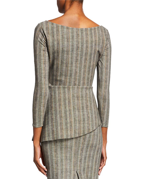 Chiara Boni La Petite Robe Camila Striped Boat-Neck 3/4-Sleeve Asymmetric Top