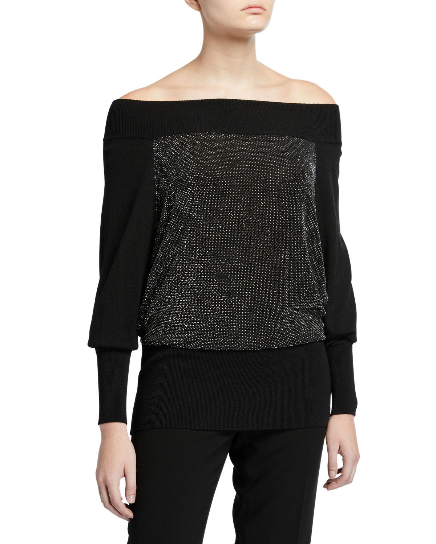 M Line Off The Shoulder Metallic Front Top by Chiara Boni La Petite Robe