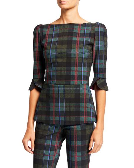 Chiara Boni La Petite Robe Edelmira Plaid High-Neck 1/2-Sleeve Top