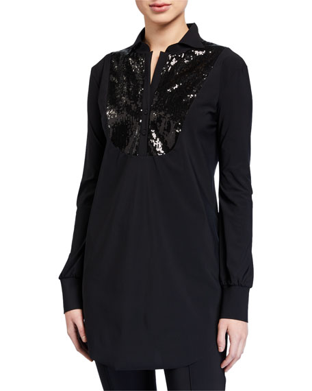 Chiara Boni La Petite Robe Maike Paillettes Long-Sleeve Sequin Bib Top