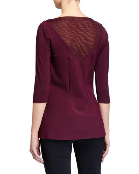 Chiara Boni La Petite Robe Goran High-Neck 3/4-Sleeve Illusion Top