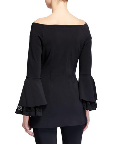 Chiara Boni La Petite Robe Alia Off-the-Shoulder Bell-Sleeve Net Inset Top