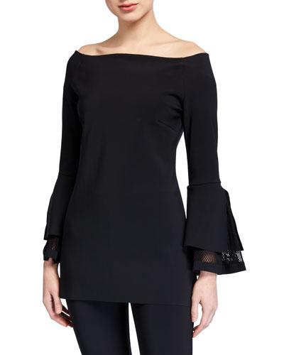 Alia Off-the-Shoulder Bell-Sleeve Net Inset Top
