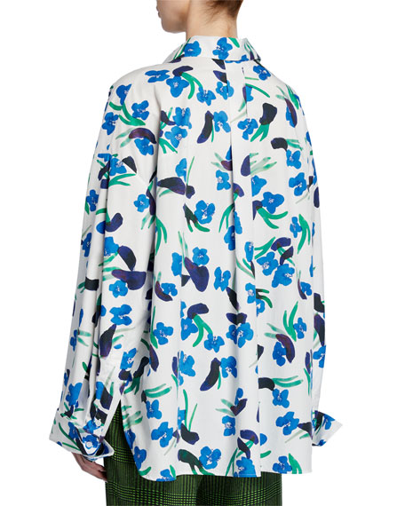 Image 2 of 2: Christian Wijnants Tung Floral-Print Button-Down Blouse