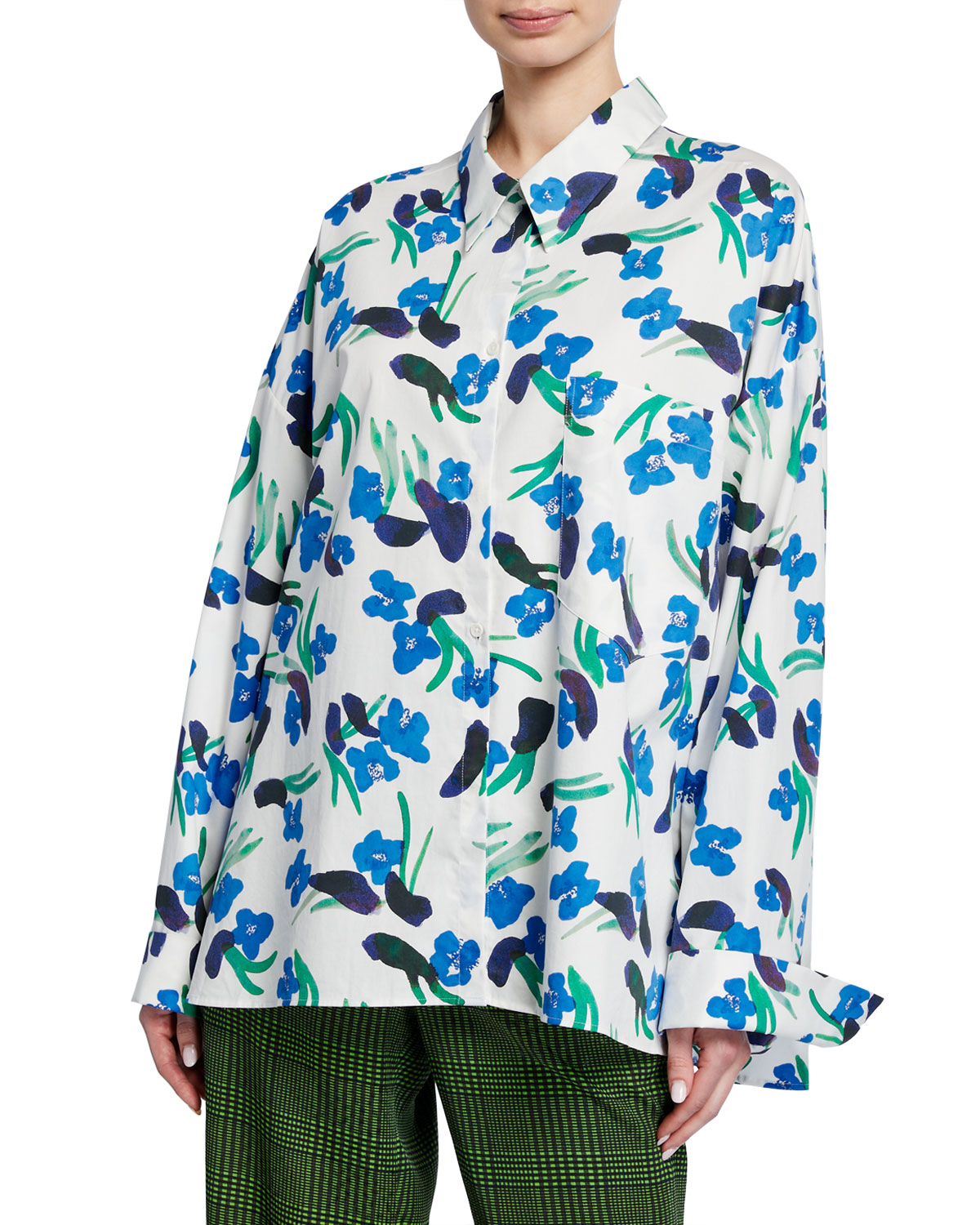 Christian Wijnants Tung Floral-Print Button-Down Blouse