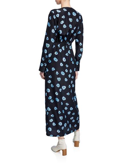 Christian Wijnants Darka Tie-Front Floral-Print Long-Sleeve Dress