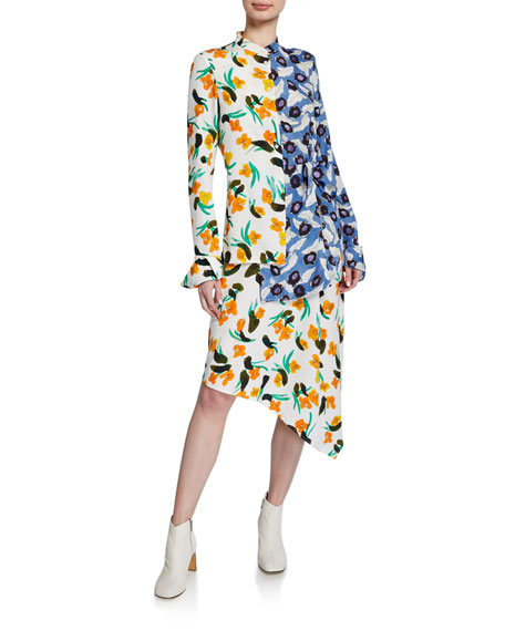 Christian Wijnants Devla Floral-Print Draped Asymmetrical Dress