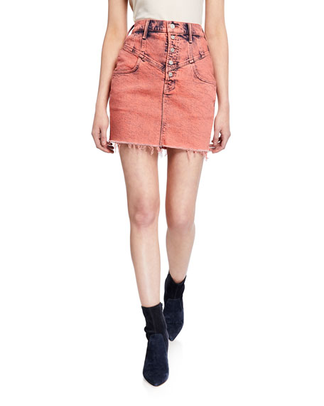 Image 1 of 3: MOTHER The Swooner Yoke-Front Frayed Mini Skirt