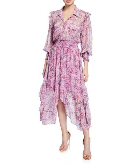 MISA Los Angeles Kaiya Printed Asymmetrical Shirt Dress