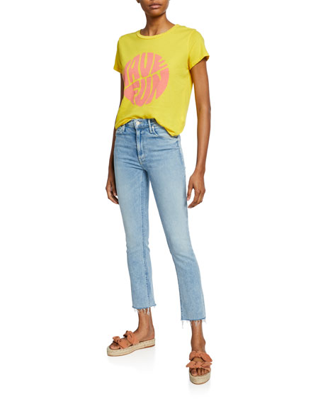MOTHER The Mid-Rise Dazzler Ankle Fray Jeans