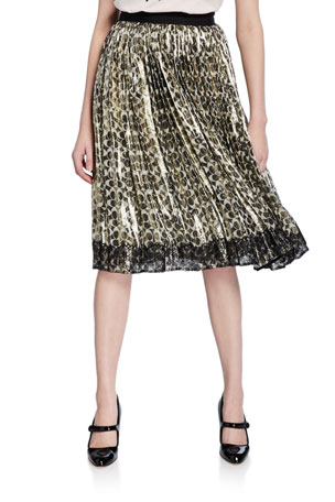 Coach Metallic Pleated Logo-Print Skirt