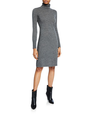 88ab9193d8db Neiman Marcus Cashmere Collection Cashmere Long-Sleeve Turtleneck Dress
