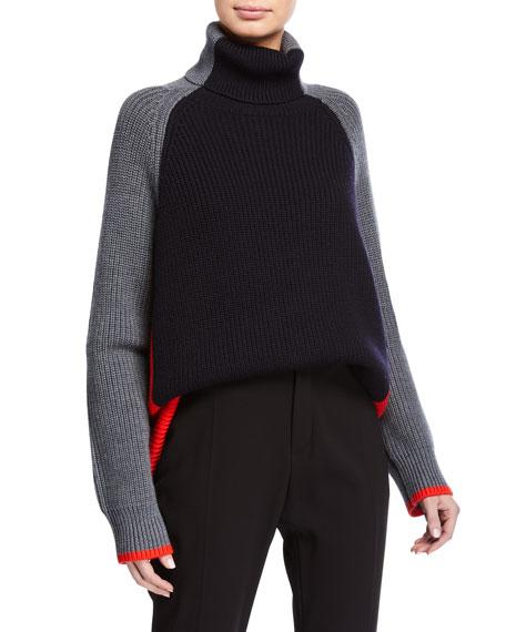 Victoria Victoria Beckham Oversized Turtleneck Colorblock Sweater