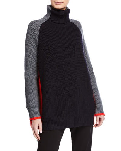 Oversized Turtleneck Colorblock Sweater