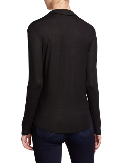 Majestic Paris for Neiman Marcus Metallic Long-Sleeve Button-Down Top