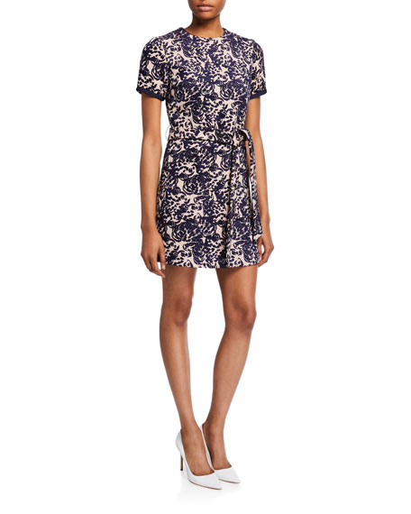 Victoria Victoria Beckham Printed Short-Sleeve Dress w/ Pocket