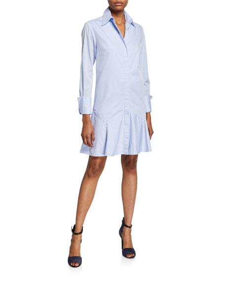 Victoria Victoria Beckham Pinstripe Flounce Long-Sleeve Shirtdress