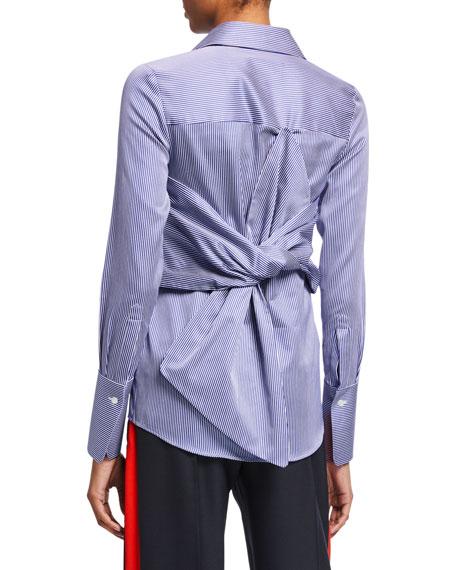 Victoria Victoria Beckham Striped Bow-Back Shirt