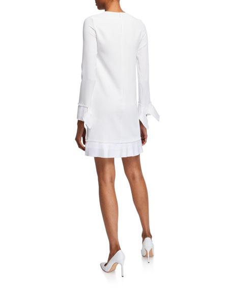 Victoria Victoria Beckham Pleated-Trim Long-Sleeve Shift Dress