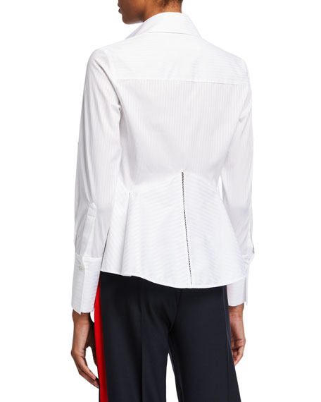 Victoria Victoria Beckham Flounce-Hem Striped Shirt