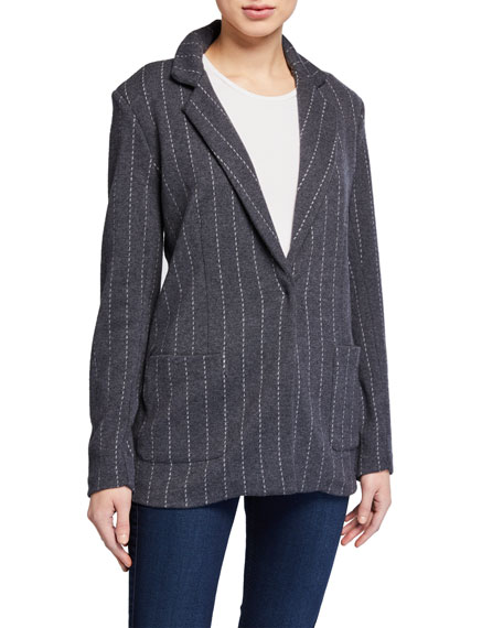 Majestic Filatures Striped One-Button Blazer