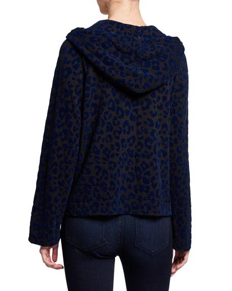 Majestic Paris for Neiman Marcus Velour Leopard Zip-Front Hoodie Jacket