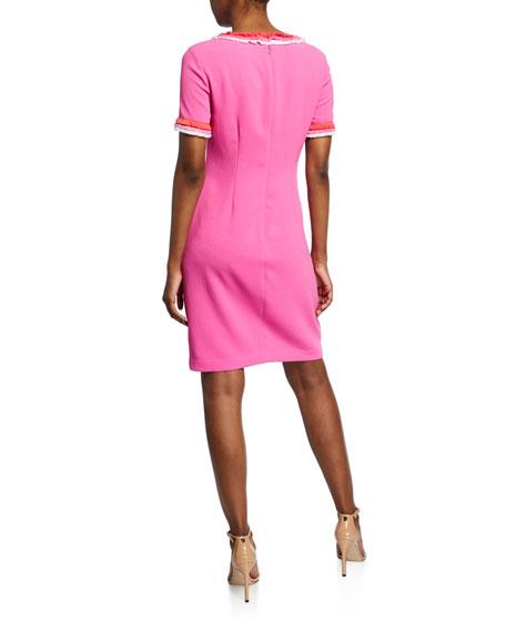 Trina Turk Vibrant Short-Sleeve V-Neck Sheath Dress w/ Fringe Trim