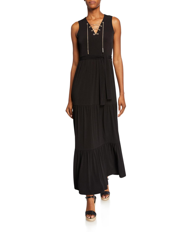 fae15ec8d43 MICHAEL Michael Kors Chain Lace-Up Sleeveless Maxi Dress