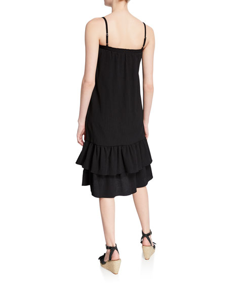 MICHAEL Michael Kors Smocked Square-Neck Spaghetti-Strap Midi Flounce Dress