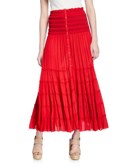 Poupette St Barth Foe Paneled Long A-Line Crinkle Skirt