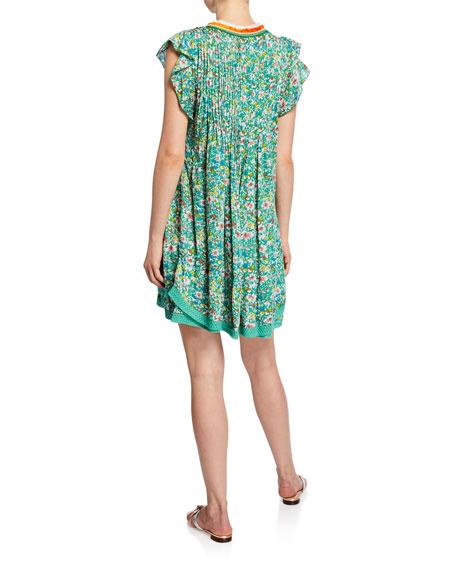 Poupette St Barth Sasha Lace-Trim Printed Mini Dress