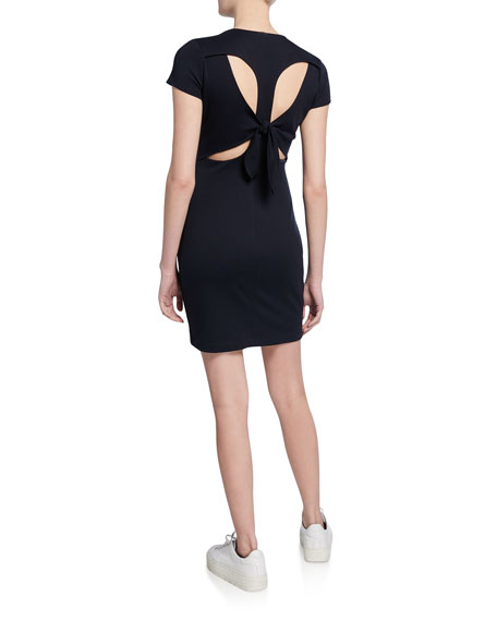 Bailey 44 Delos Crewneck Short-Sleeve Tie-Back Dress w/ Cutouts
