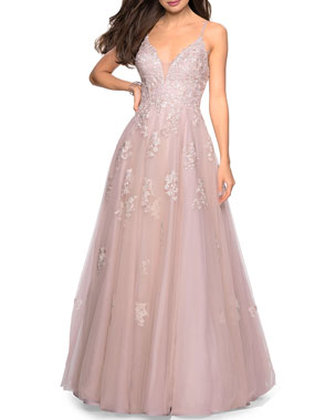 58948af1cf9 La Femme V-Neck Sleeveless Tulle Ball Gown with Sequin Applique