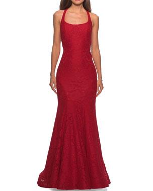 765a8c1990 La Femme Square-Neck Floral Lace Racerback Mermaid Gown