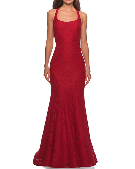 La Femme Square-Neck Floral Lace Racerback Mermaid Gown
