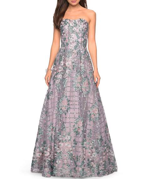 La Femme Strapless Floral-Embroidered A-Line Gown with Sequins