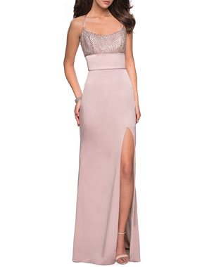 67cb5d8177d La Femme Sleeveless Column Gown with Beaded Top   Thigh-Slit