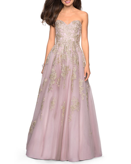 La Femme Strapless Sweetheart Ball Gown with Lace Appliques