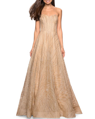 0659377f47c La Femme Beaded Strapless Sweetheart A-Line Gown