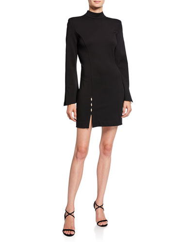 Samantha Mock-Neck Long-Sleeve Mini Dress