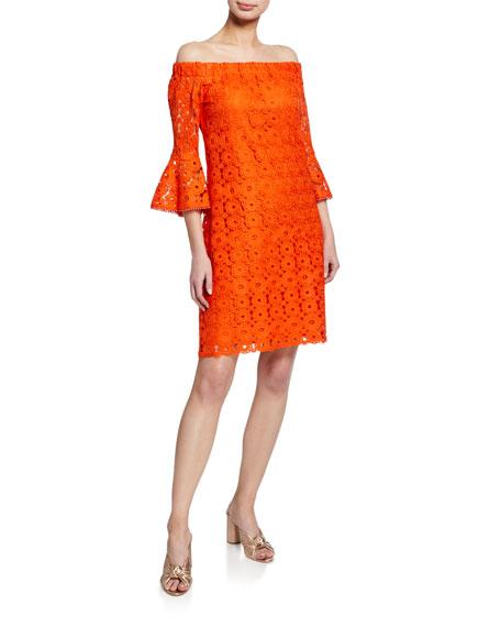 Trina Turk Healdsburg Off-the-Shoulder Bell-Sleeve Lace Dress