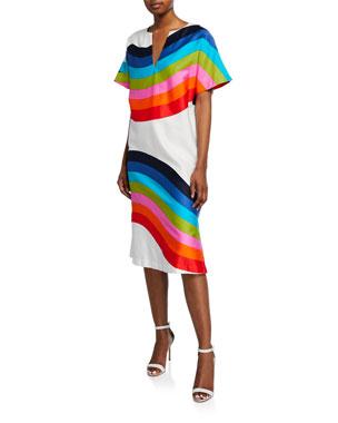 2866ed856c0 Trina Turk Honolulu Striped V-Neck Short-Sleeve Shift Dress