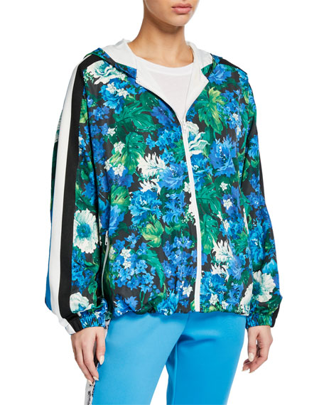 Pam & Gela Floral Zip-Front Hooded Track Jacket