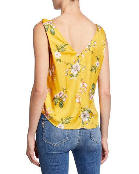 Rebecca Taylor Lita Button-Front Floral Tank